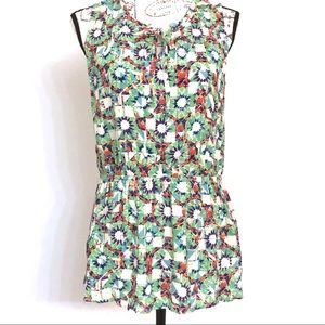 CAbi #316 Kaleidoscope Sleeveless Tie Front Top